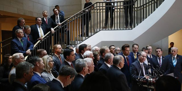 GOP lawmakers storm closed-door impeachment session, as Schiff walks out